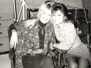 "Bonnie and Nia Peebles on the set of ""Fame"""