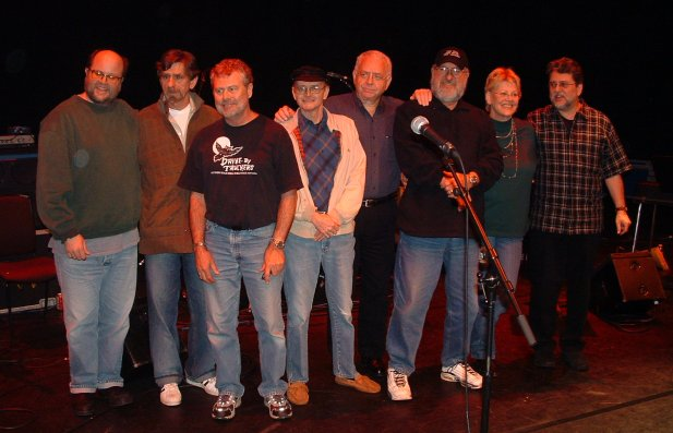 Barbican rehearsal (left to right): Bryan Owings, Spooner Oldham, David Hood, George Soule, Jimmy Johnson, Clayton Ivey, Bonnie Bramlett, Larry Byrom